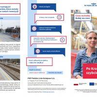 ulotka obrazująca korzyści z modernizacji i postęp prac na linii kolejowej E30 na odcinku Kraków - Rudzice