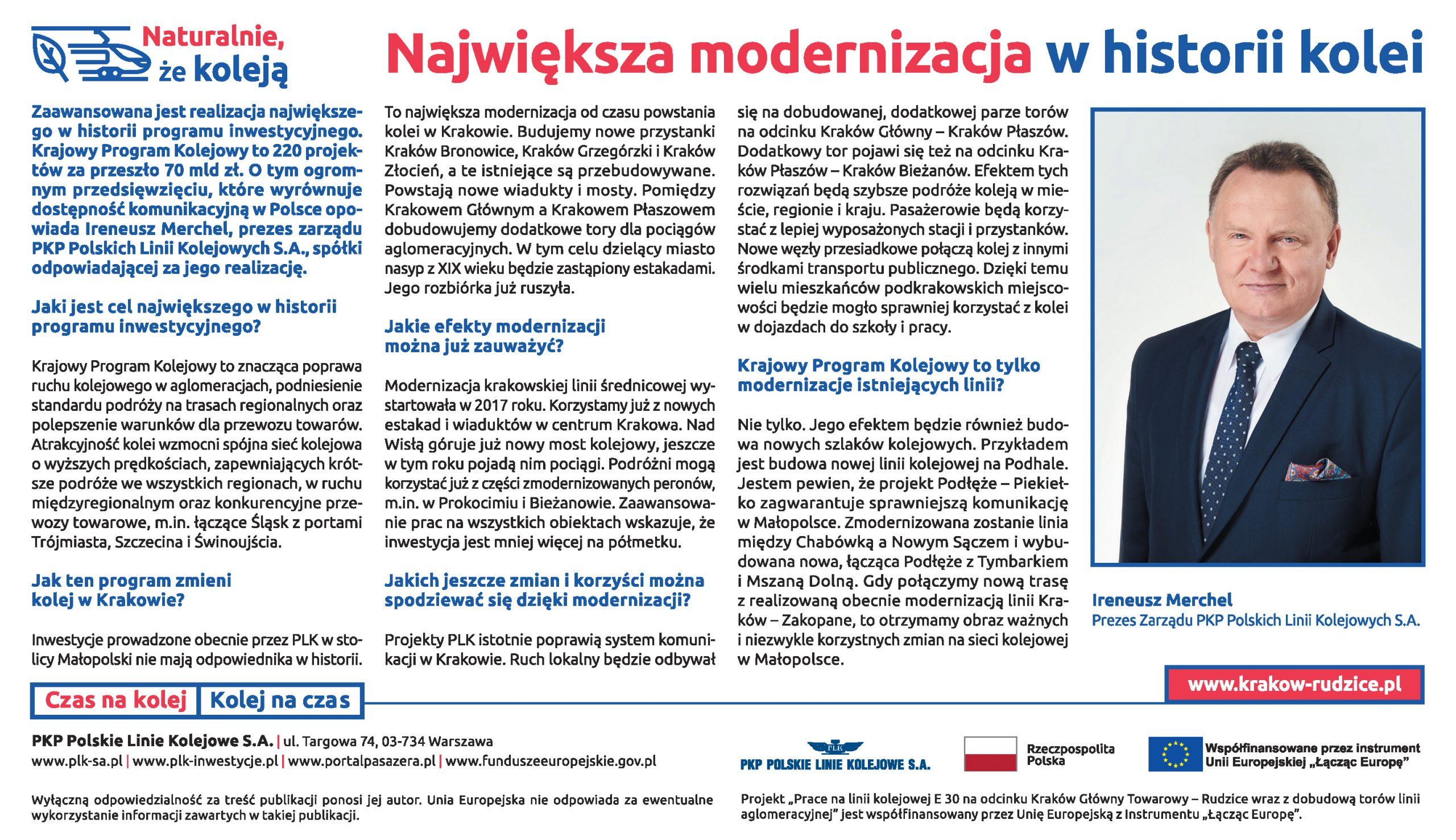 Wywiad z Prezesem PKP Polskim Linii Kolejowych S.A. Ireneuszem Merchel opublikowany w Dzienniku Polskim 3 września 2019 r.