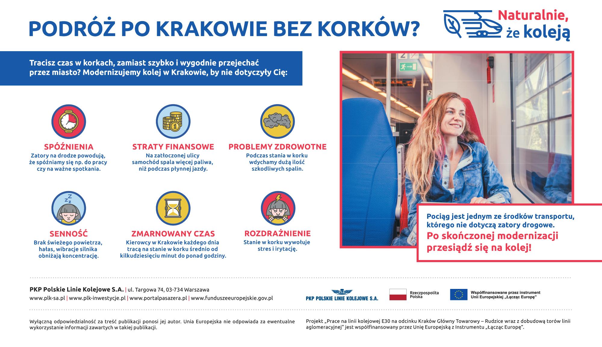 Reklama opublikowana w Nasze Miasto Kraków obrazująca negatywne skutki podróży samochodowej po zakorkowanym Krakowie.