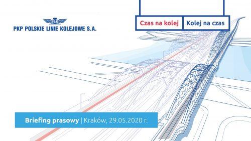Briefing prasowy 29 maja 2020 r. z okazji otwarcia ruchu kolejowego na nowym moście nad Wisłą w Krakowie.