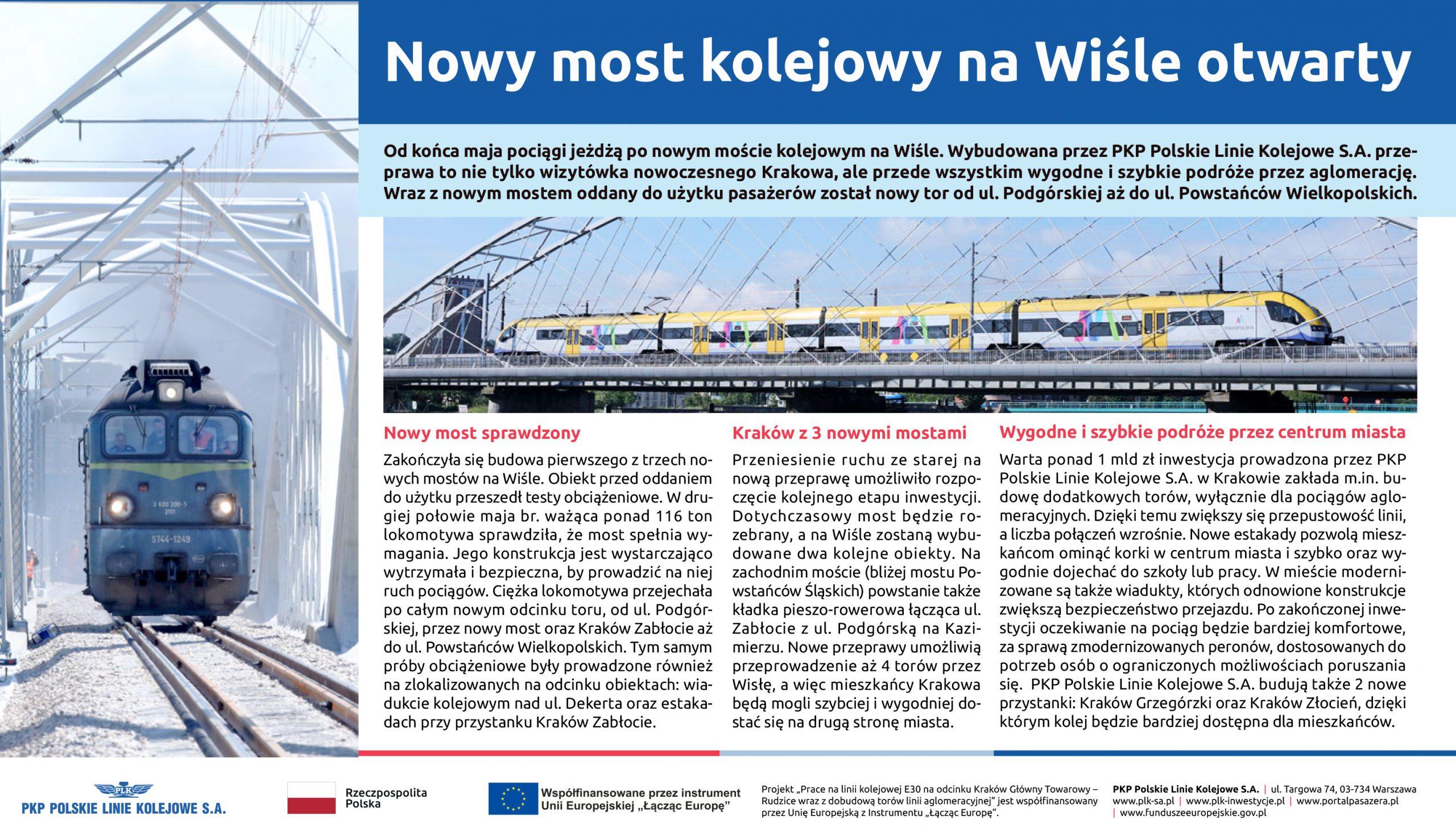 """Artykuł """"Nowy most kolejowy na Wiśle otwarty"""" opublikowany w Gazecie Krakowskiej i Dzienniku Polskim 9 czerwca 2020 r."""