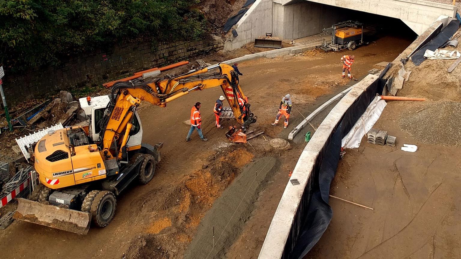 Modernizacja na ul. Lokietka, Krakow, zdjęcie prac przy modernizacji wiaduktu